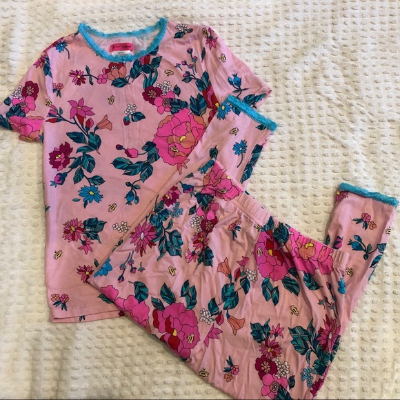 Betsey Johnson Other - Betsy Johnson pink floral pajama set. Size 14